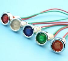 5x 10 mm 12 V Led Indicador Piloto Lámpara Luz De Tablero con Cable DC 22 Cm Nuevo