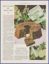 Vintage 1928 WESSON OIL Kitchen Fruit Cake Dessert Art Décor 20's Print Ad