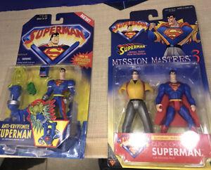 Animated Superman Figure Lot Anti-Kryptonite And Mission Masters 3 Quick Change