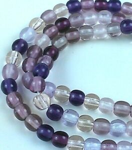 "Czech Glass Round Beads 4.00 mm "" MIXTURE AMETHYST "" 100 Beads"