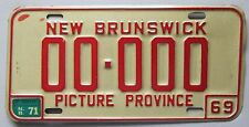 New Brunswick 1971 SAMPLE License Plate # 00-000