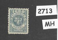 MH stamp Scott N27 / 1923 Memel 1000 Mark / Lithuania / Prussia / Germany