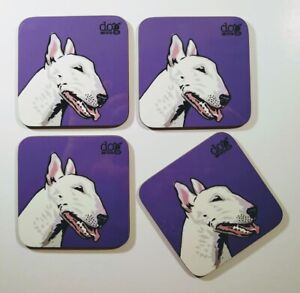 English Bull Terrier - set of 4 coasters with original illustration.