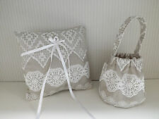 Silk embroidered Matching ring cushion/pillow & petal flower bag