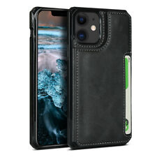 For iPhone SE (2020) Black Genuine Leather ID Card Slot Wallet Flip Case Cover