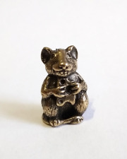 Tiny mouse, cute mouse, micro mouse with cheese, bronze tiny figurine