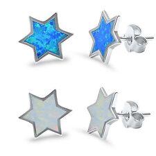 Blue or White Opal Star of David Sterling Silver Stud Earrings