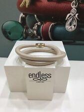 """NWT Endless Metallic Cream Double Wrap Leather Charm Silver Bracelet 7""""  NEW"""