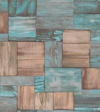 Erismann Wallpaper - Wooden Boards / Planks - Beige & Blue - Textured 7354-18