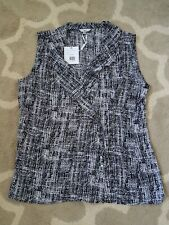 Milano Womens Top Medium Sleeveless Black & White with collar NWT RETAIL $62