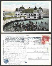 1925 Utah Postcard - Great Salt Lake - Saltair Pavilion, Bathing Scene