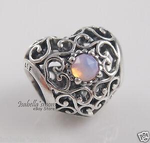 OCTOBER SIGNATURE Heart PANDORA Opalescent PINK CRYSTAL Birthday Charm 791784NOP