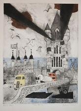 Listed British Artist Julian Trevelyan, Signed Original Color Etching London