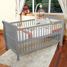 NEW 4BABY 3 IN 1 GREY MONACO SLEIGH COT BED ADJUSTABLE COTBED FROM BIRTH