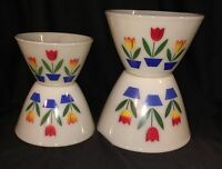 Fire King *TULIPS ON IVORY* SPLASH PROOF MIXING BOWLS * SET OF 4* SET #2*