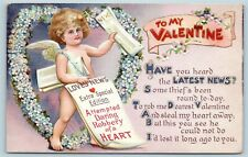 Postcard Valentines To My Valentine Cupid Selling News Papers Heart Robbery Y16