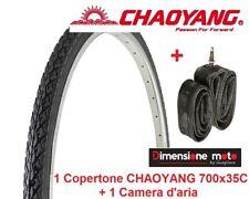 "1 Copertone CHAOYANG 700x35 Scanalato Nero + 1 Camera per Bici 28"" Trekking"