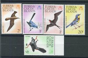 Turks & Caicos QEII 1973-75 Birds 1/2/3/20c up wmk SG411/4  5c sdw rev. 386w MNH