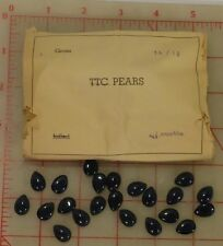 144 vintage glass pearshape cabochons montana sapphire dark blue 14 x 10mm W.Ger