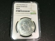 Philippines 1963 1 Peso Silver Silver Coin Uncirculated - NGC MS64 (Bonifacio)