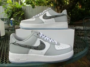 Nike By You air Force 1 ID Dior Low Top Sz 9 Grey White Dunk Snake Jordan 1 NEW