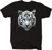 White Tiger Head Blue Eyes Majestic Big Cat Endangered Species T-shirt