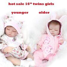 "2 Pcs 16"" Sleeping Twins Girl Reborn Baby Doll Lifelike Preemie Silicone Gifts"