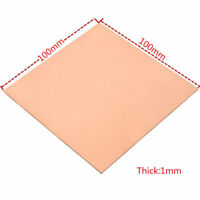 99.9% Pure Copper Cu Metal Sheet Plate 1mm*100mm*100mm 1PC