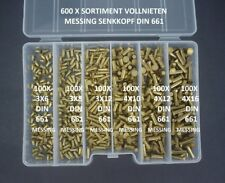 600 SORTIMENT MESSING NIETEN 3+4 MM Ø SENKNIETEN VOLLNIETEN SENKKOPF DIN 661+BOX