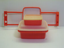 Vintage Tupperware Pack N Carry Lunch Box #1513 Paprika Orange + 1516 Container