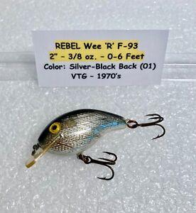 """Rebel Wee 'R' F-93 Square Bill Crank Bait - 2"""" -  3/8 oz. Color: (01) - VTG 70's"""