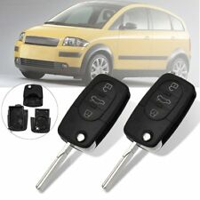 2x Flip 3Button Remote Key Fob Case Shell Uncut Blade For Audi A2 A3 A4 A6 A8 TT