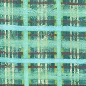 Michael Miller Floral Fabric Aqua TEXTURED PLAID- yards
