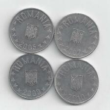 4 DIFFERENT 10 BANI COINS from ROMANIA (2005, 2007, 2009 & 2010)