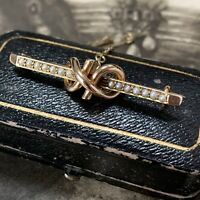 Victorian 15ct Gold Split Pearl Knot Brooch, Antique Edwardin Pin & Antique Box