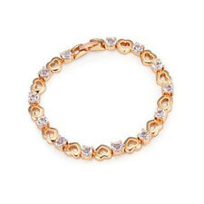 GORGEOUS 18K ROSE GOLD PLATED & GENUINE CLEAR CUBIC ZIRCONIA HEART BRACELET