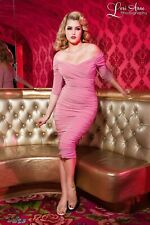 Pinup girl Monica Dress Large Pink Laura Byrne Dita Pin Up Couture Rockabilly BN