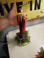 "Vintage 11"" Cardboard Foil Christmas Electric Flickering Candle Decoration"