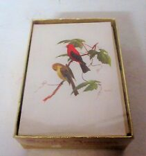 10 Vintage Ray Harm Scarlet Tanager Bird Greeting Cards  In Box Old Store Stock