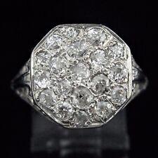 Antique Diamond Cluster Ring Old European Cut 14k White Gold Art Deco c.1920s