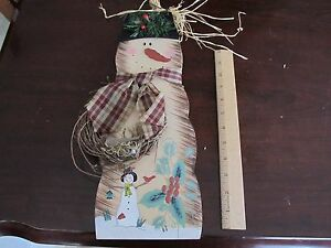Country Wooden Snowman 16 Inch  Wall or Door Decor