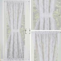 Lace Door Curtain White Floral Voile Panel Slot Top Rod Pocket Panels