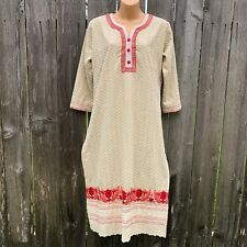 SALSA Women's Sz XL BOHO Tunic Top Kurta Embroidered Indian Ethnic Beige Red