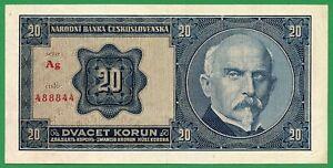 Czechoslovakia, 20 Korun 1926, Pick 21a, XF+