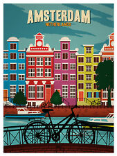 Amsterdam holland vintage bike  print for your glass frame  poster 90cm