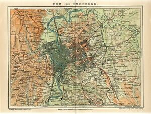 1912 ITALY ROME CITY and OUTSKIRTS Antique Map dated