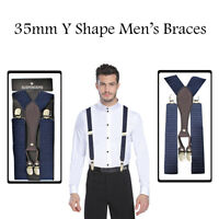 Y Shaped 35mm Adjustable Elastic Suspender Braces with Leather and Metal Clip On