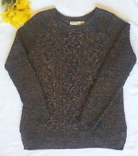 Faded Glory Sz M (8-10) Multi-Colored Cable Knit Crew Neck Pullover Sweater EUC