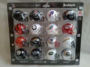 Riddell AFC NFL Pocket Size Helmets Conference Set . New. Rare in UK. 16 Helmets