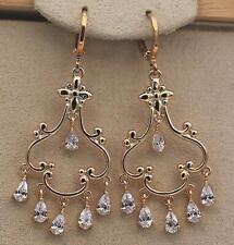 """18K Gold Filled- 2"""" Hollow Flower Bosnian Swirl Waterdrop Chandelier Earrings DS"""